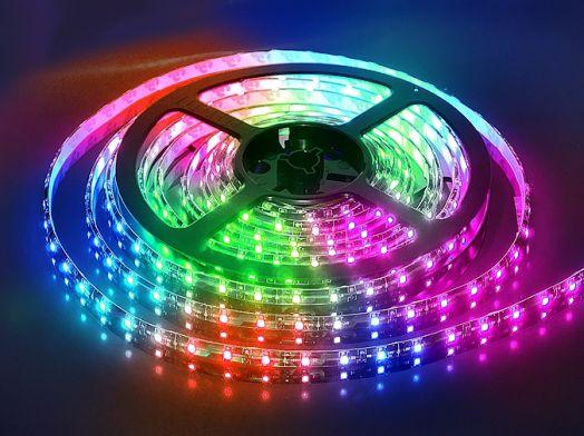 Светодиодная лента 60 5050 СМД диодов на метр водозащищенная, RGB